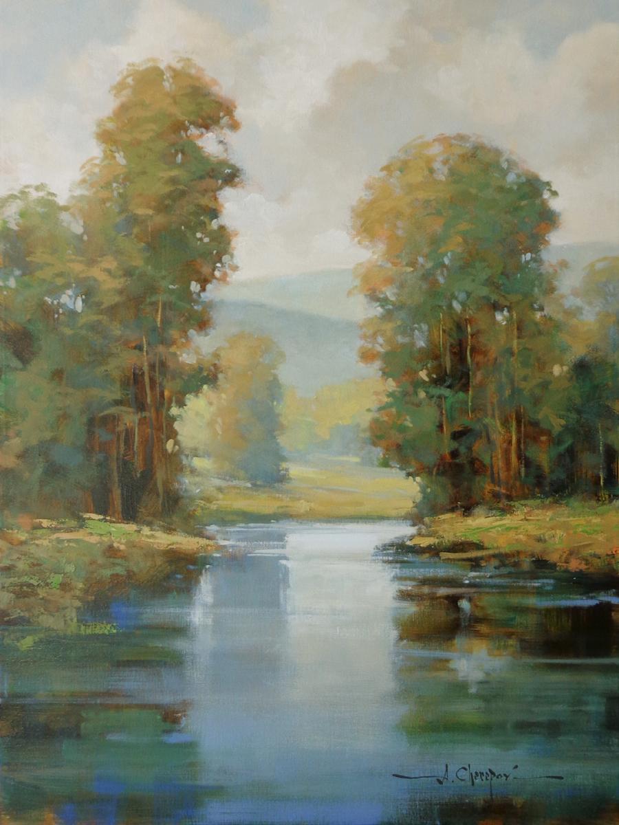 Blue Glassy River 30x40