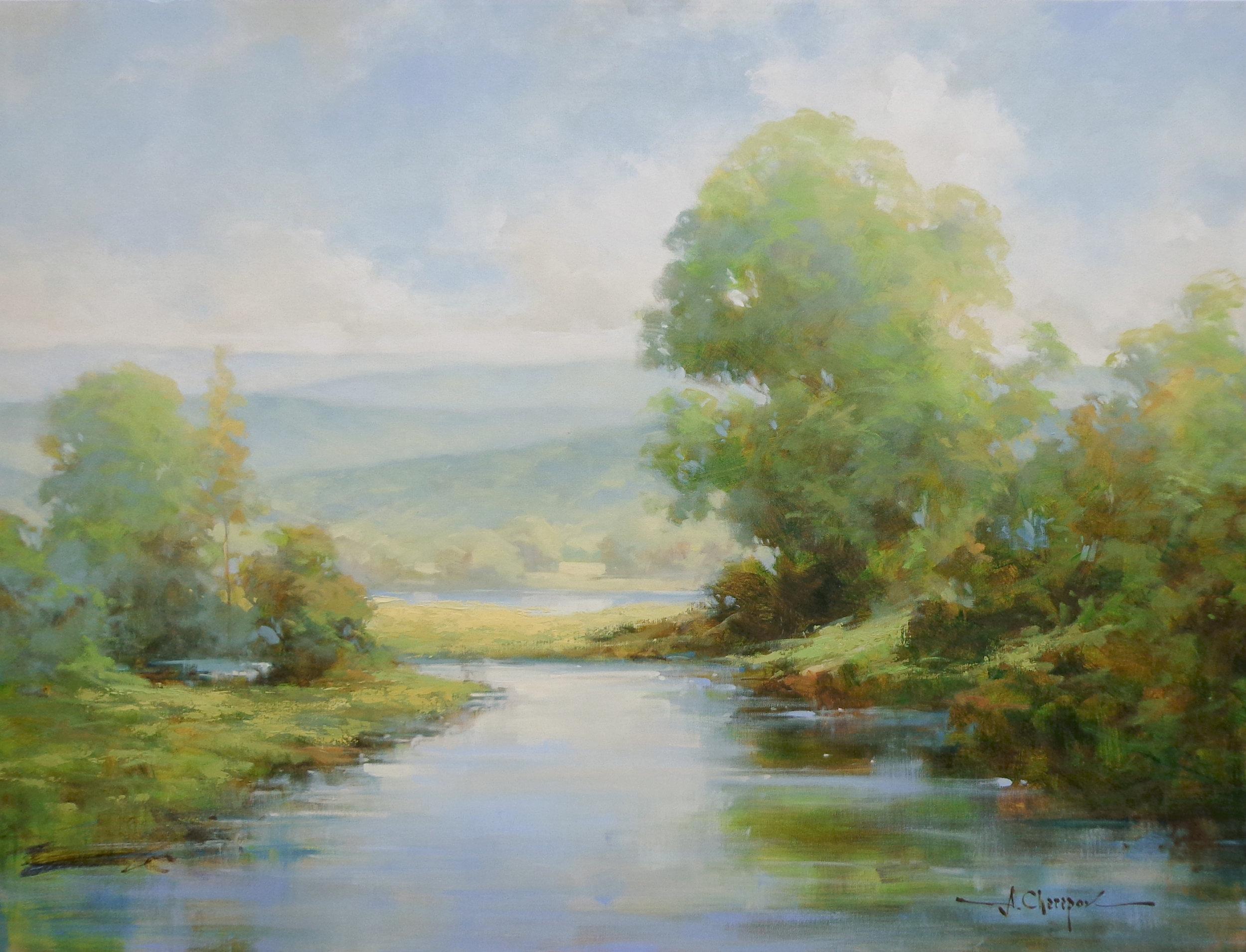 White Sunset at the River I 36x48