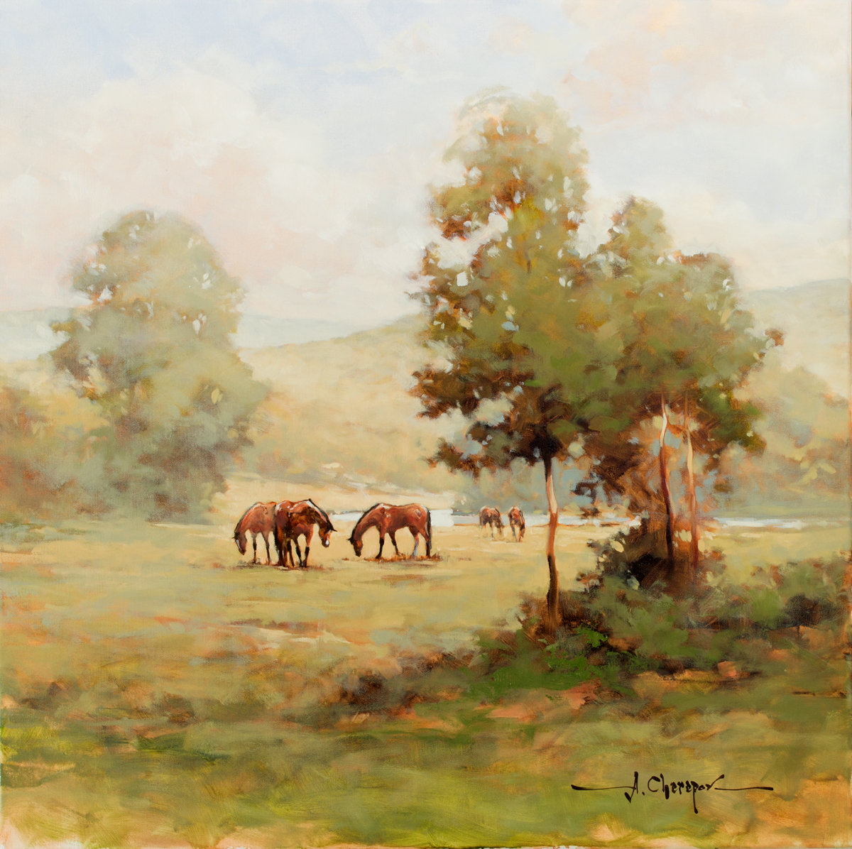 Horses in the Field|30x30