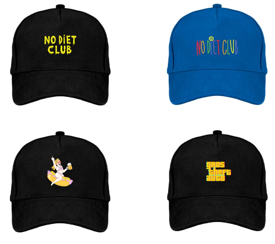 Caps NDC 🍿 - Casquettes No Diet Club100% Coton Bio