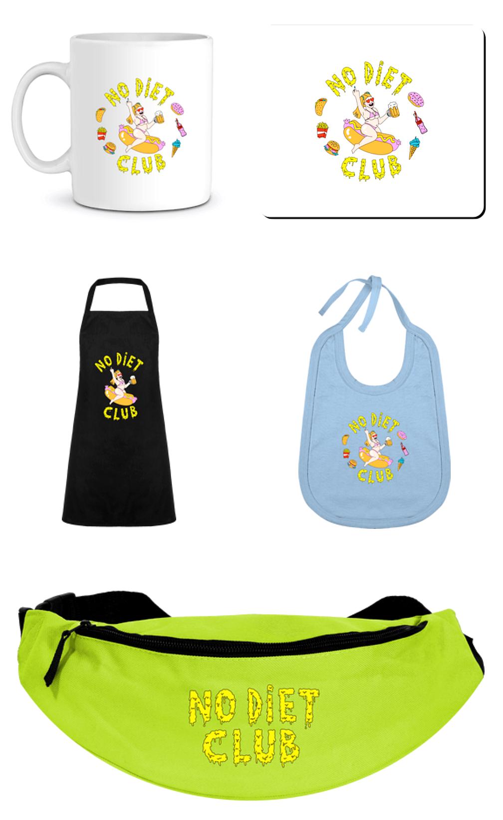Accessories NDC 🍉 - Mugs, tapis de souris, tabliers, bavoirs et bananes No Diet Club.