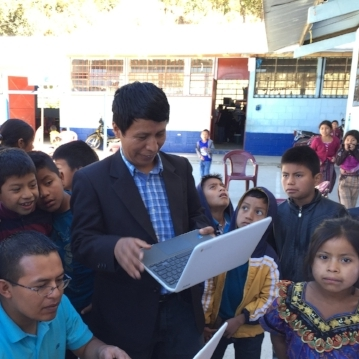 Guatemala chapter founder Israel Quic demonstrating RACHEL at a school in Guatemala.