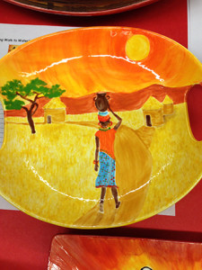A beautiful example of African-inspired bowls created by students and available for sale at the Souper Supper.