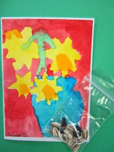 Above: Student-painted notecards and sunflower seeds to benefit Sega