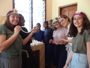 Making Chapati From left – Lissy, Nasra, Amina, Anyesi, Sarafina, Tatum, Zoe and Penelope