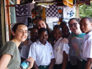 Girls at the fabric store. From left – Penelope, Amina, Lissy, Maria, Debrah, Sarafina, Angie, and Zunna!