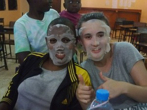 Face masks at Spa Night! Nasra and Zoe