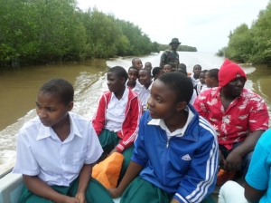 Students on the boat