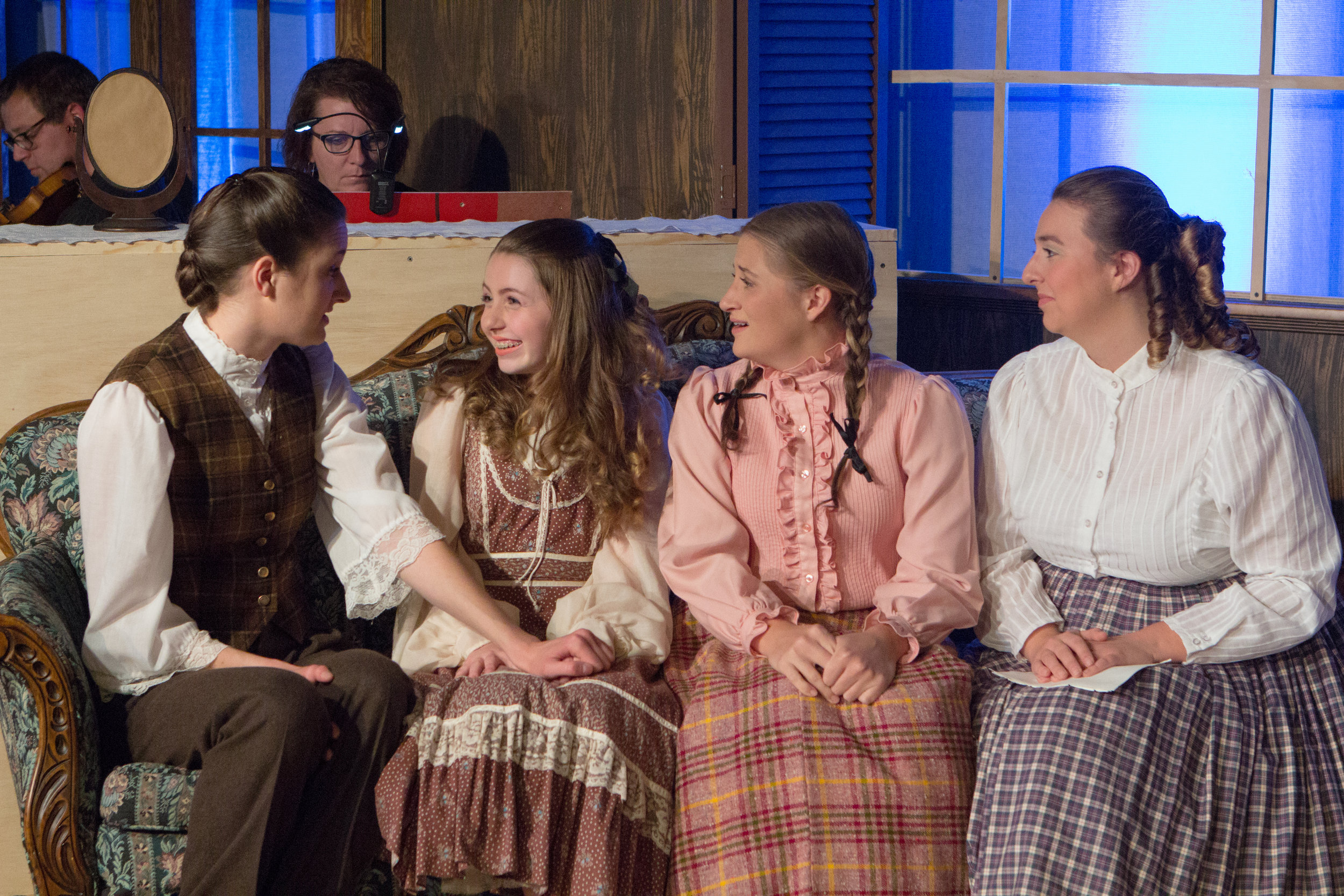 L to R: Kat Geertsen, Ella Rose Kleefisch, Courtney Denzer, and Hannah Esch in 'LITTLE WOMEN' at Lake Country Playhouse. Photo credit: James Baker