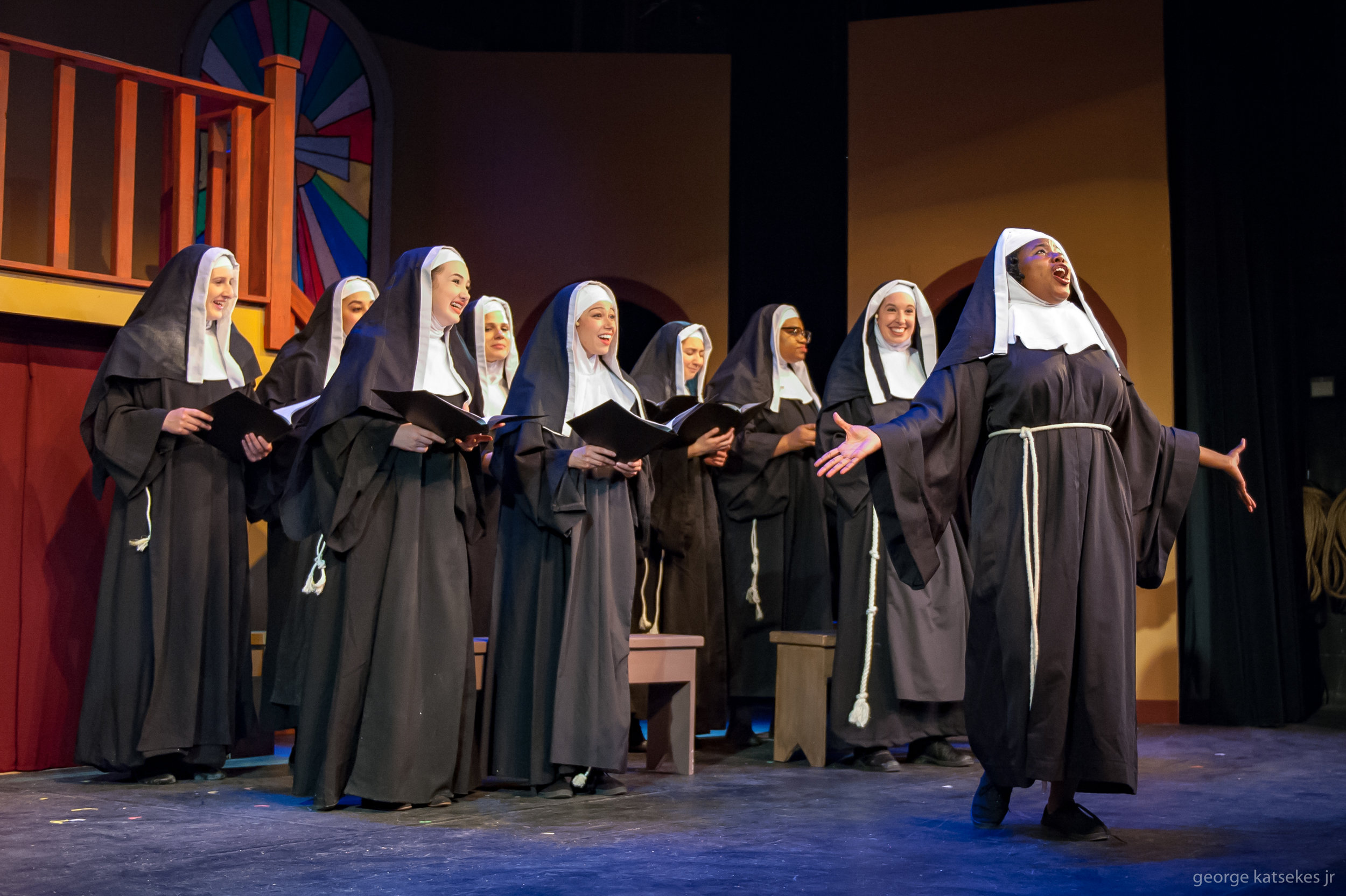 """Deloris (Ashley Levells), whom the nuns know as Sister Mary Clarence, leads the nun choir in song in a scene from Sunset Playhouse's """"Sister Act."""""""