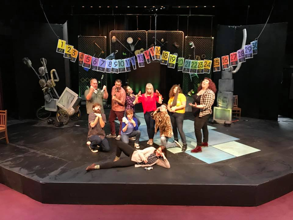 "Cast members of UW-Waukesha's ""Too Much Light Makes the Baby Go Blind - 30 plays in 60 seconds"" create a wide variety of unique personas as they prepare for the show. Pictured, from left, are, back, Jordan Burac, Jake Schumberg, Kaitlyn Downing, Rachel Verhoef, Kyla Morey, Margot Lange, middle, David Hein Tammy Rice-Bailey, Ben Gienke, front, Karlee Berna."