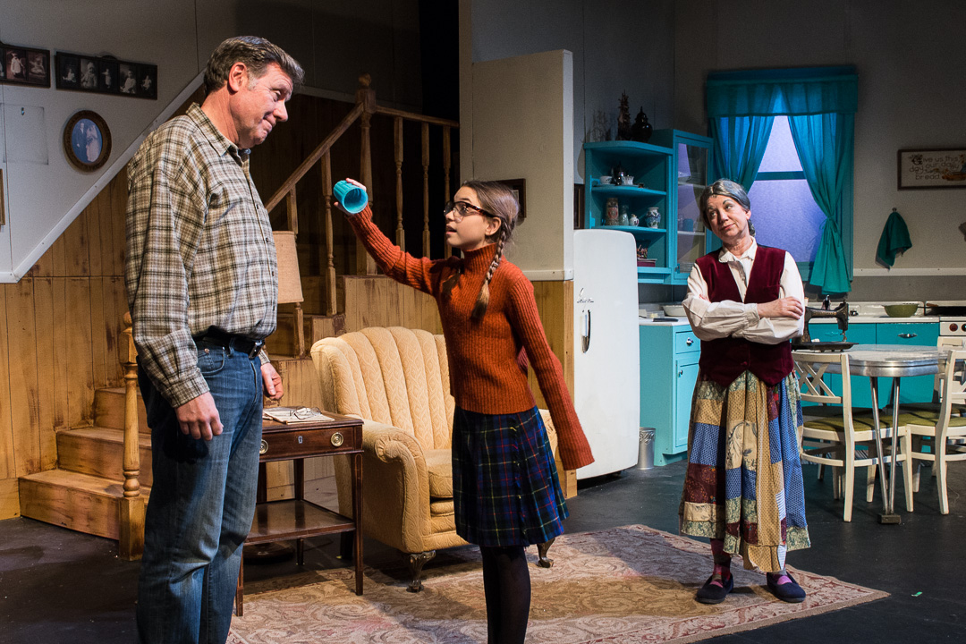 """Mr. Mills (Rick Richter) plays a trick on his daughter, Addie (Julia Rady), much to the dismay of Addie's grandma (Denise Meagher) in a scene from Waukesha Civic Theatre's """"The House Without a Christmas Tree."""""""