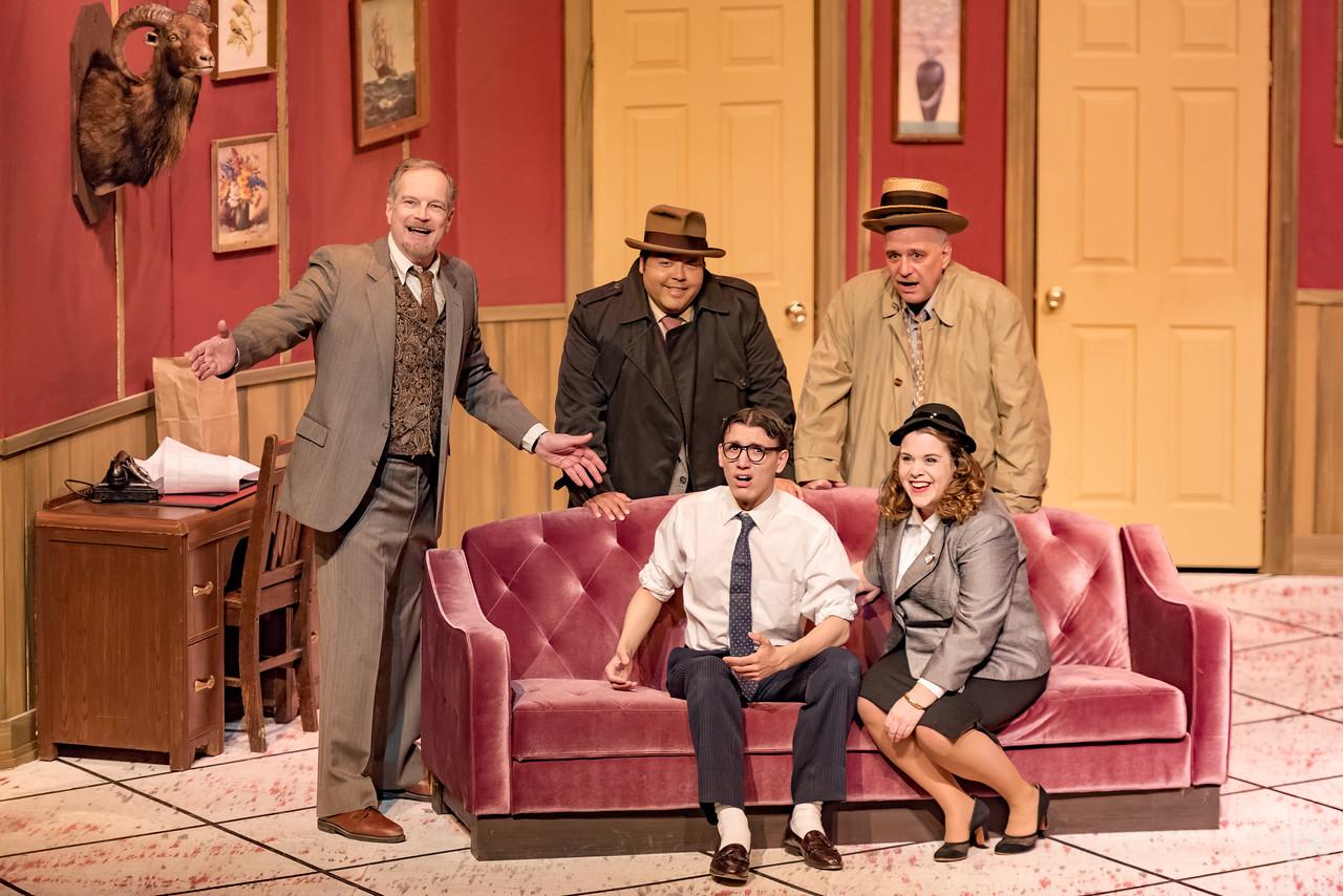 "Glenn Villa, Manny Lupian, Raffaello Frattura (standing, from left), Lee Johnston II and Stephanie Pluta (seated) star in Sunset Playhouse's ""Room Service."""