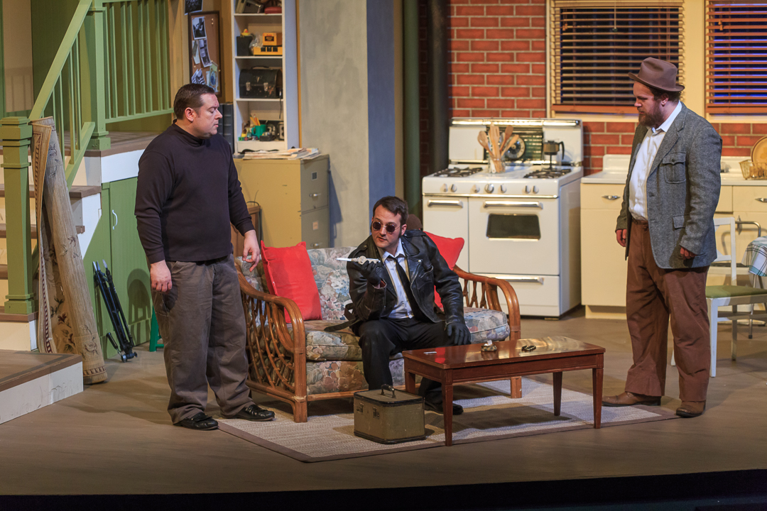 "Con men, from left, Mike (Zack Oliver), Roat (Casey Van Dam) and Carlino (Logan Milway) plan their strategy to find a doll that contains a huge amount of heroin in a scene from Waukesha Civic Theatre's ""Wait Until Dark."
