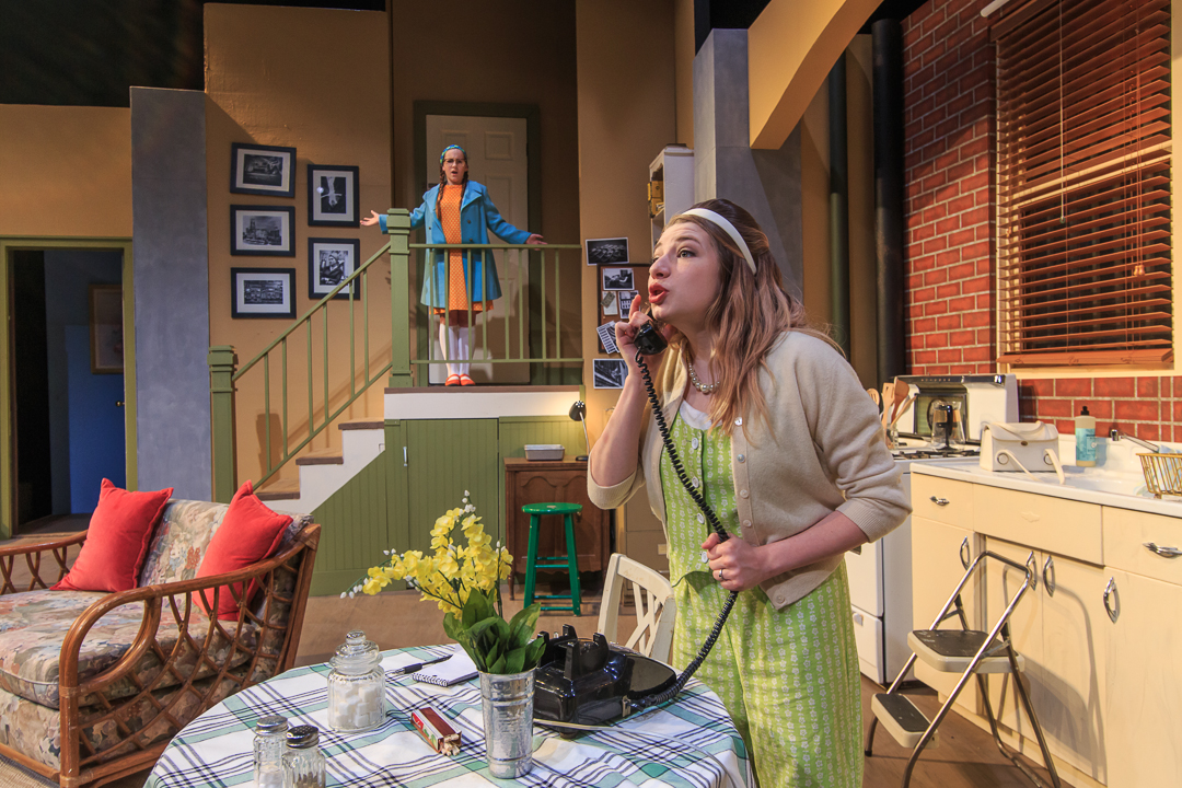 "Kalla Rachel Casalino plays a blind woman terrorized by gangsters in Waukesha Civic Theatre's ""Wait Until Dark."" At the top of the staircase is Ella Vitrano, who plays the neighbor girl."