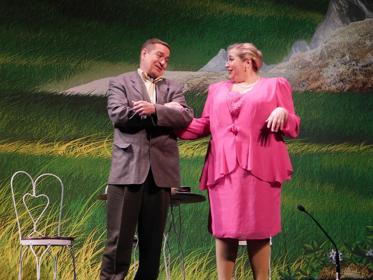 "Max (David Jirik) and Elsa (Betsy Katschke) discuss the futility of fighting the German occupation in Austria in a scene from West Community Theatre's ""The Sound of Music."""