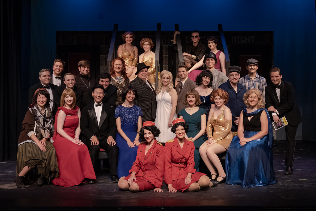"""The cast of Sunset Playhouse's """"The Producers,"""" features Robert A. Zimmerman, Molly Morrow and Zach Zembrowski (center)."""