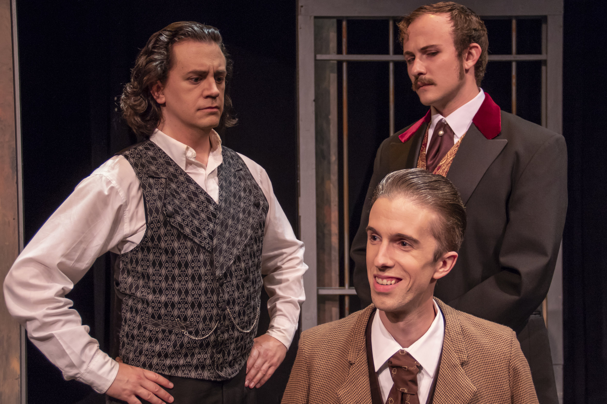 "Edwin Booth  (Jared McDaris), John Wilkes Booth (Corey Jefferson Hagen) and Mark Gray (Brandon Haut) converse on the stage of McVicker's Theatre in a scene from ""This Prison Where I Live."""