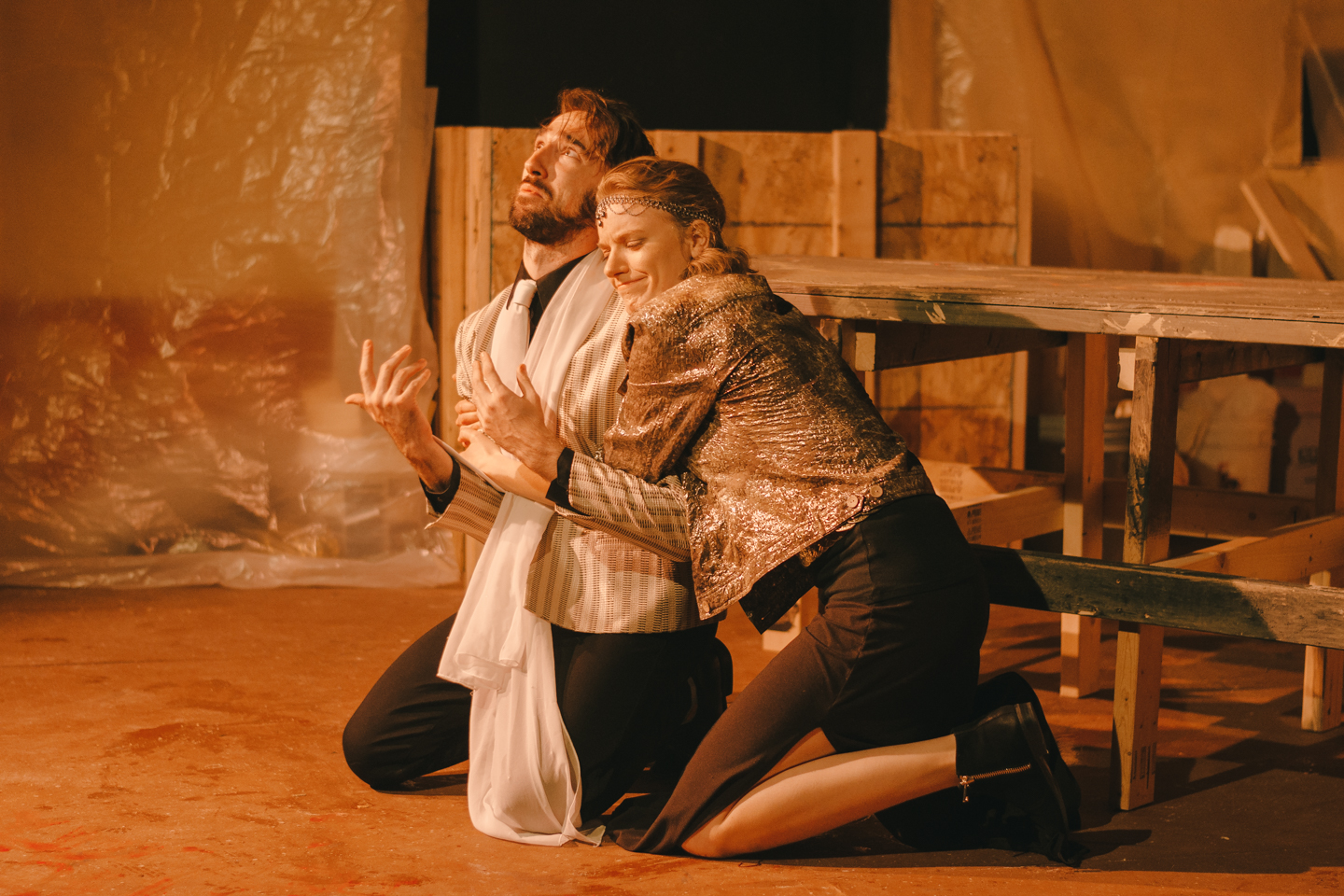 "Tamora (Robin Lewis) holds on to Saturninus (Kyle Conner) in a scene from Voice Found Repertory's ""Titus Andronicus."""