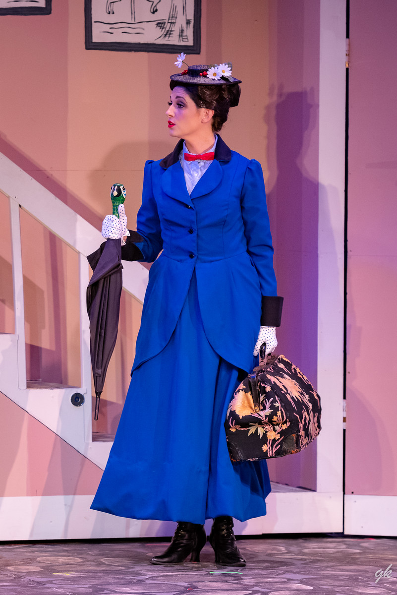 "Mary Poppins (Briana Rose Lipor) appears at the Banks' family home as their new nanny in a scene from Sunset Playhouse's ""Mary Poppins."""