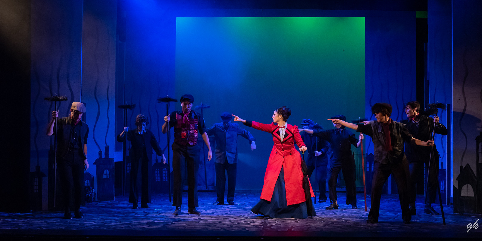 "Mary Poppins (Briana Rose Lipor) joins the ""sweeps"" in the rousing ""Step in Time"" during Sunset Playhouse's ""Mary Poppins."""