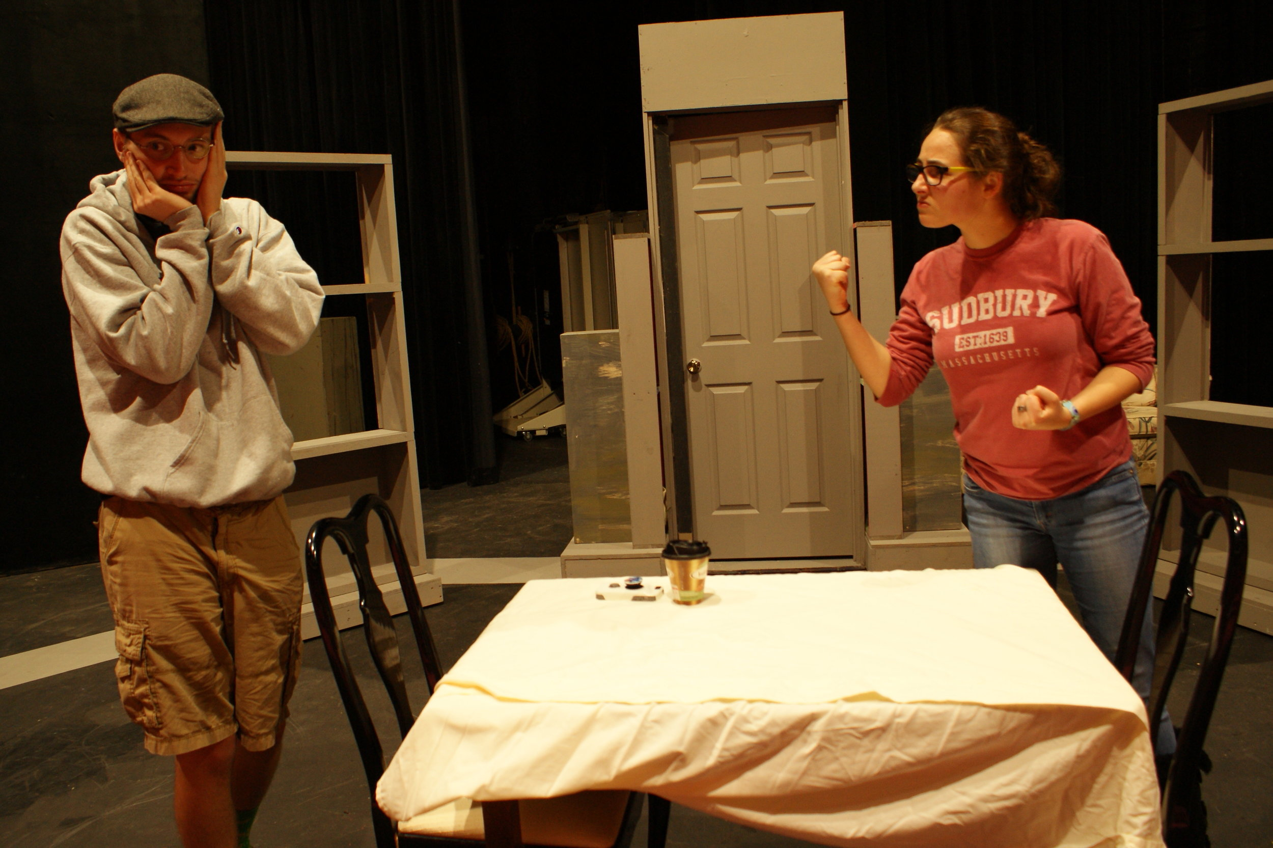 """Kevin (Brett McAlister) and his wife Jill (Eli Buran) discuss having in a baby in """"Forgot,"""" one of nine short skits in """"Love/Sick"""" presented by the Lunt-Fontanne Ensemble of UWM at Waukesha."""