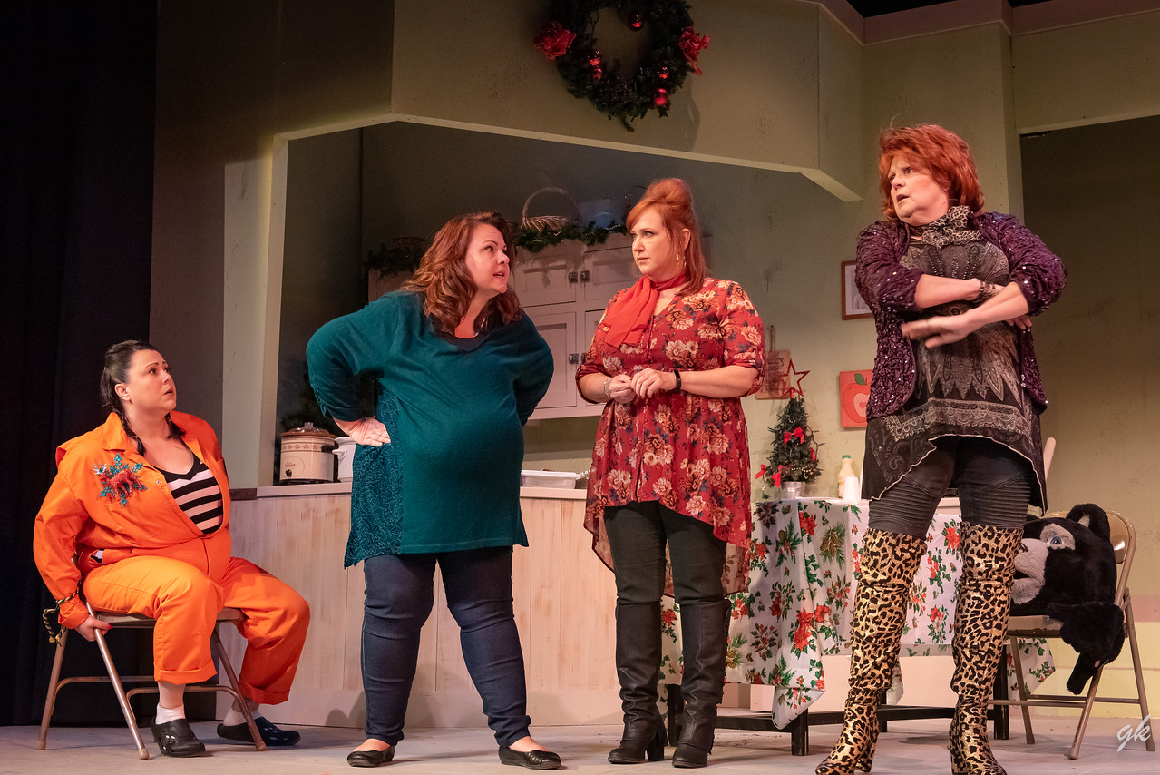 "Twink (Heather Reynolds), Frankie (Diane Gard), Rhonda Lynn (Cheryl Roloff) and Honey Raye (Tamara Martinsek) get into a heated discussion in Sunset' Playhouse's ""Christmas Belles."""