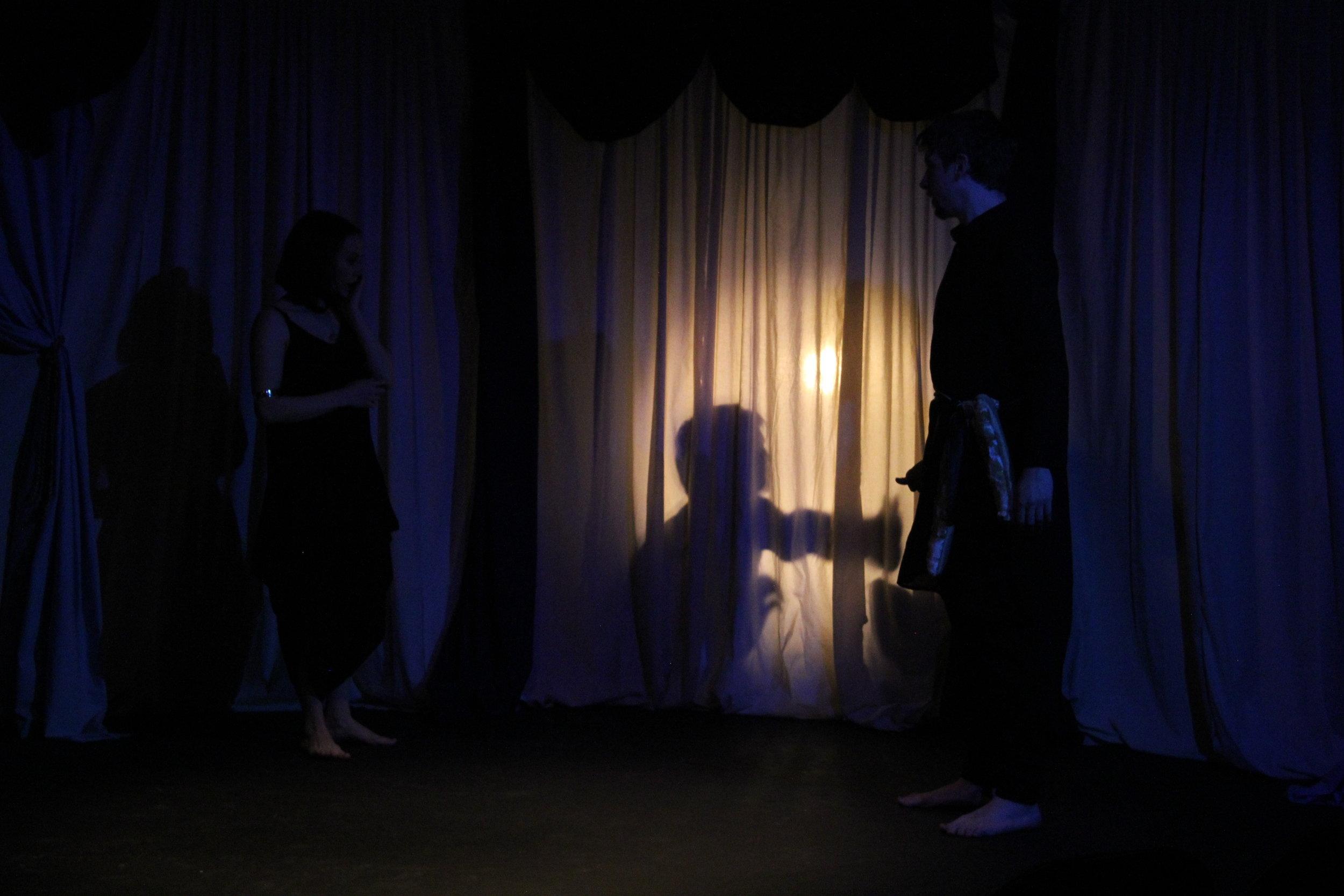 Shadows of Medea's children can be seen through a sheer curtain.