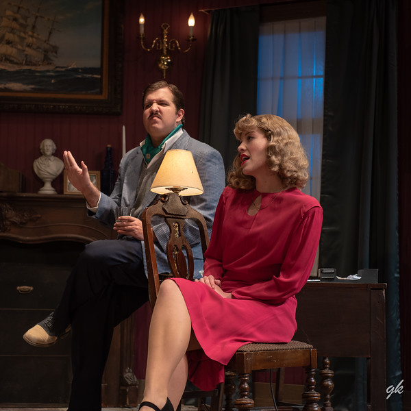 "Edmund (Tyler Peters) and Phillipa (Stephanie Nilsen) are caught in a web of lies in Sunset Playhouse's ""A Murder is Announced."""