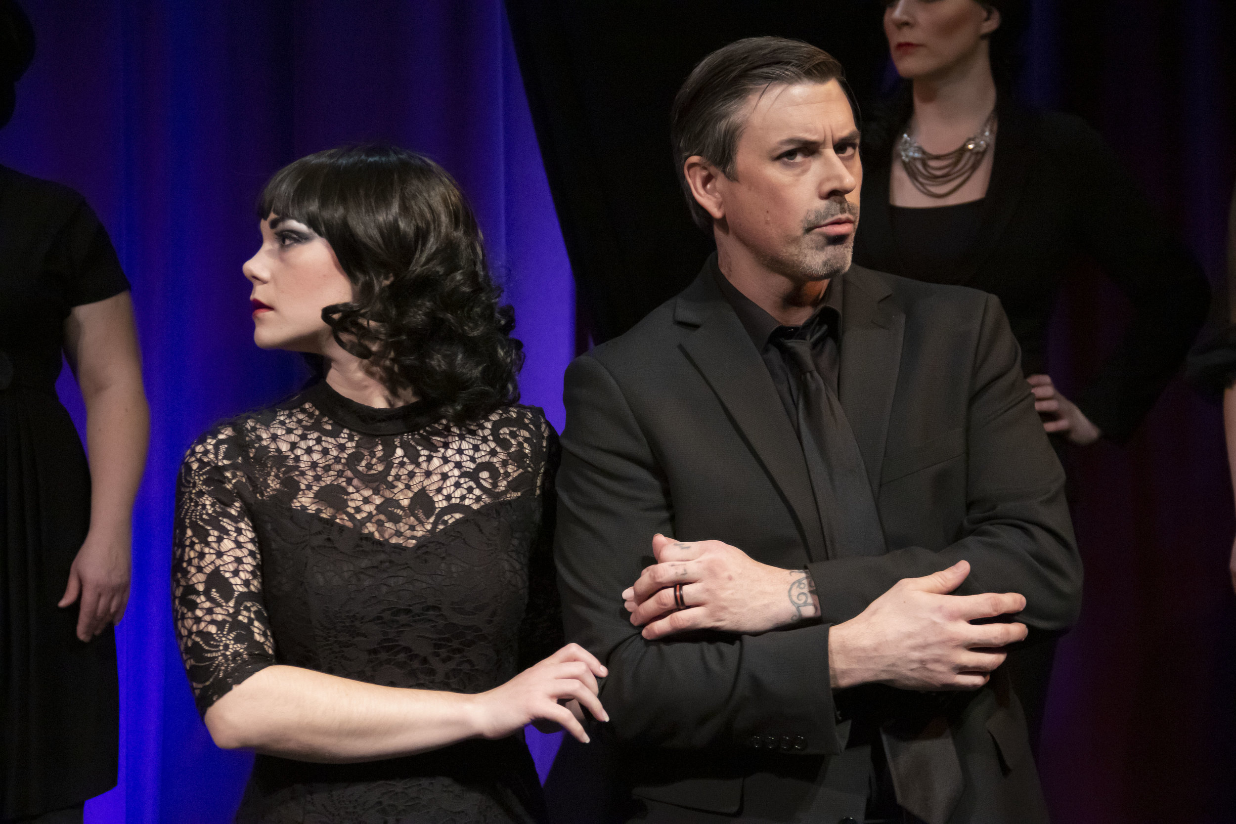 "Luisa (Rae Elizabeth Pare) and her husband Guido (Timothy J. Barnes) are at odds in a scene from Theater Red's ""Nine."""