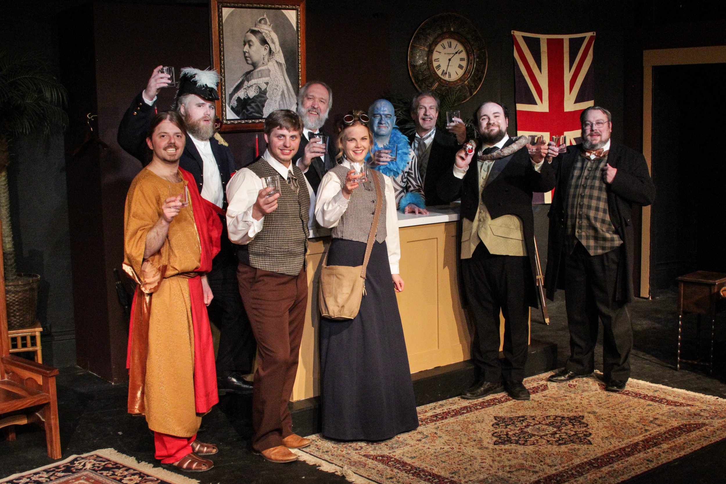 "The cast of Lake Country Playhouse's ""Explorers Club,"" from left, Eric Starr, John F. Reilly, Zachary Klahn, Jim Baker, Katie Krueger, Mike Crowley, Paul Weir, Logan Milway and Jeffrey Seelig."