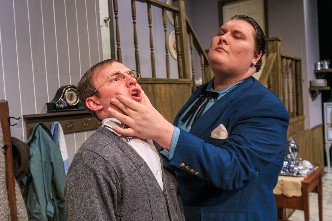 "The overbearing Theo (Noah Maguire) bullies the meek barber Cohen (Landon Quinney) in a scene from Waukesha Civic Theatre's ""The Underpants."""