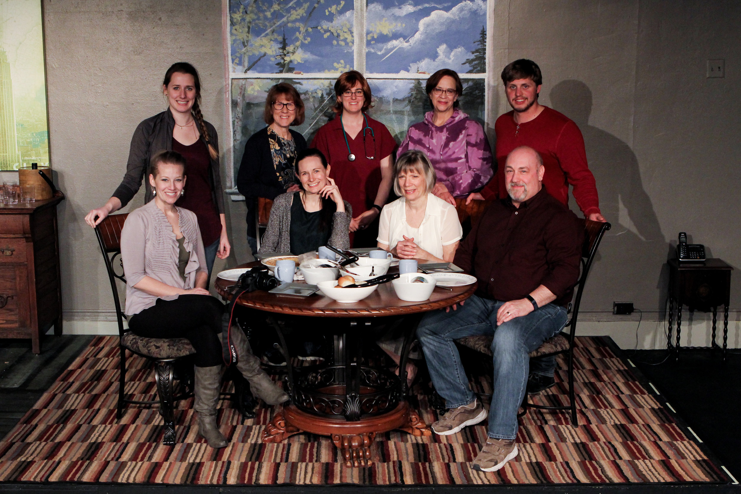 "The cast of Lake Country Playhouse's ""The Tin Woman"" includes, from left, front Cayla Anderson, Alyssa Falvey, Sara Sarna, Bob Fuchs, back, Ariel Rosen, Nancy Hurd (director), Breanne Brennan, Rebecca Richards (director) and Zachary Klahn.  Photos by Jim Baker"