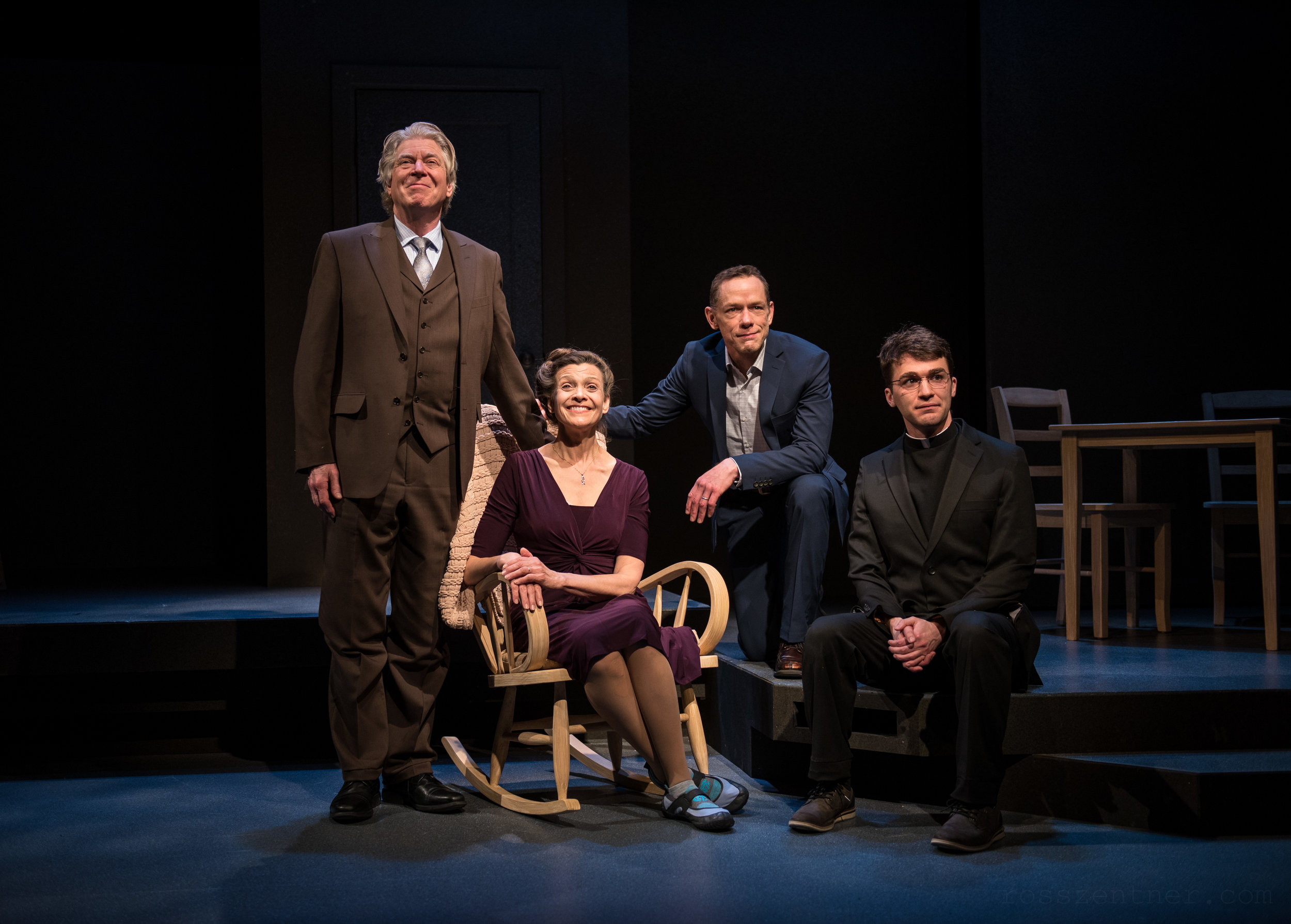 "The Cain family, Pete (Norman Moses), Mary (Carrie Hitchcock), Paul (Jonathan Wainwright) and Bill (Jack Dwyer) pose for a photo in Next Act Theatre's ""How to Write a New Book for the Bible.""  Photos by Ross Zentner"