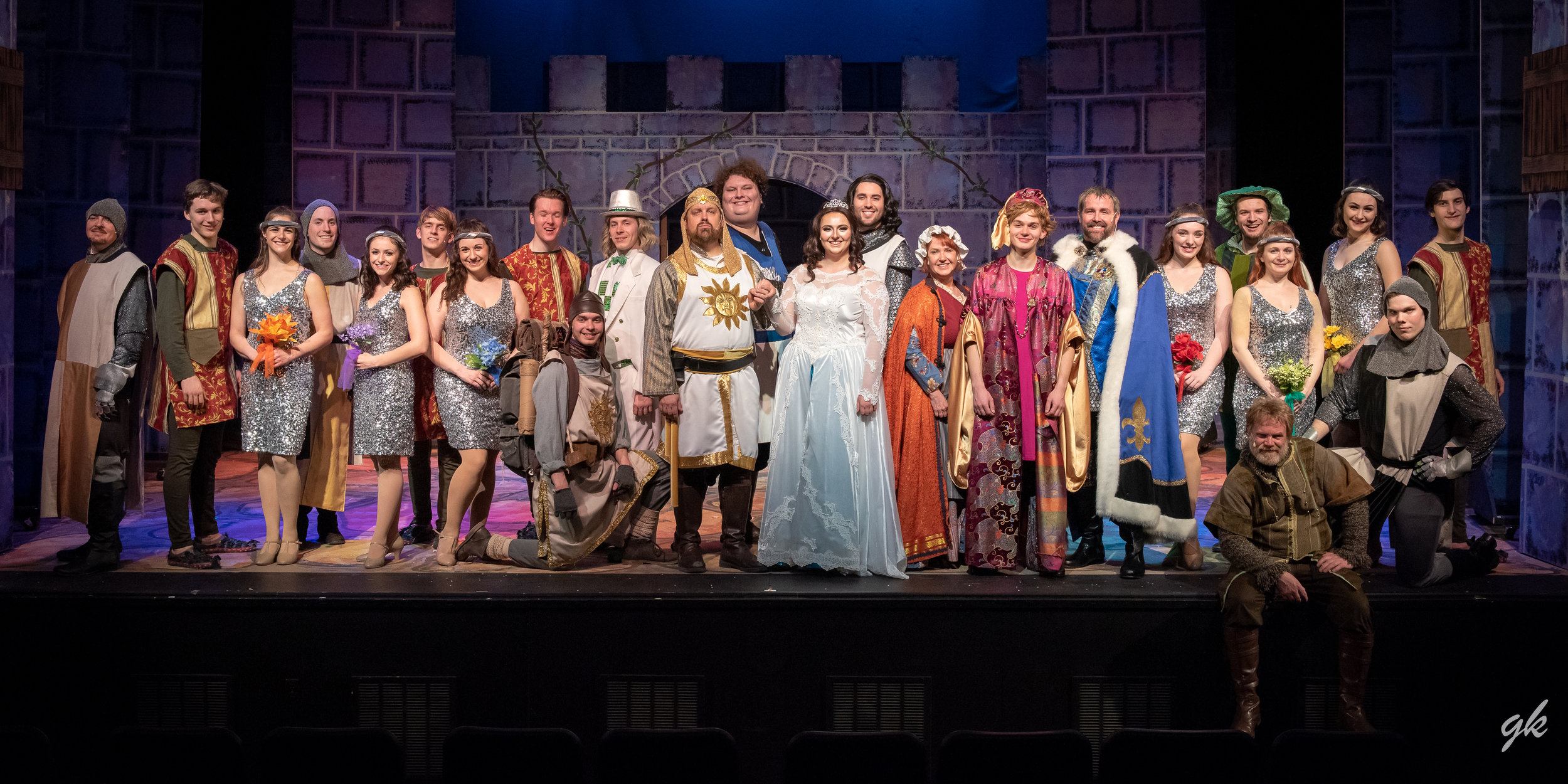 """King Arthur (Corey Richards) and Lady of the Lake (Hannah Esch), center, assume a royal pose in Sunset Playhouse's """"Spamalot."""""""