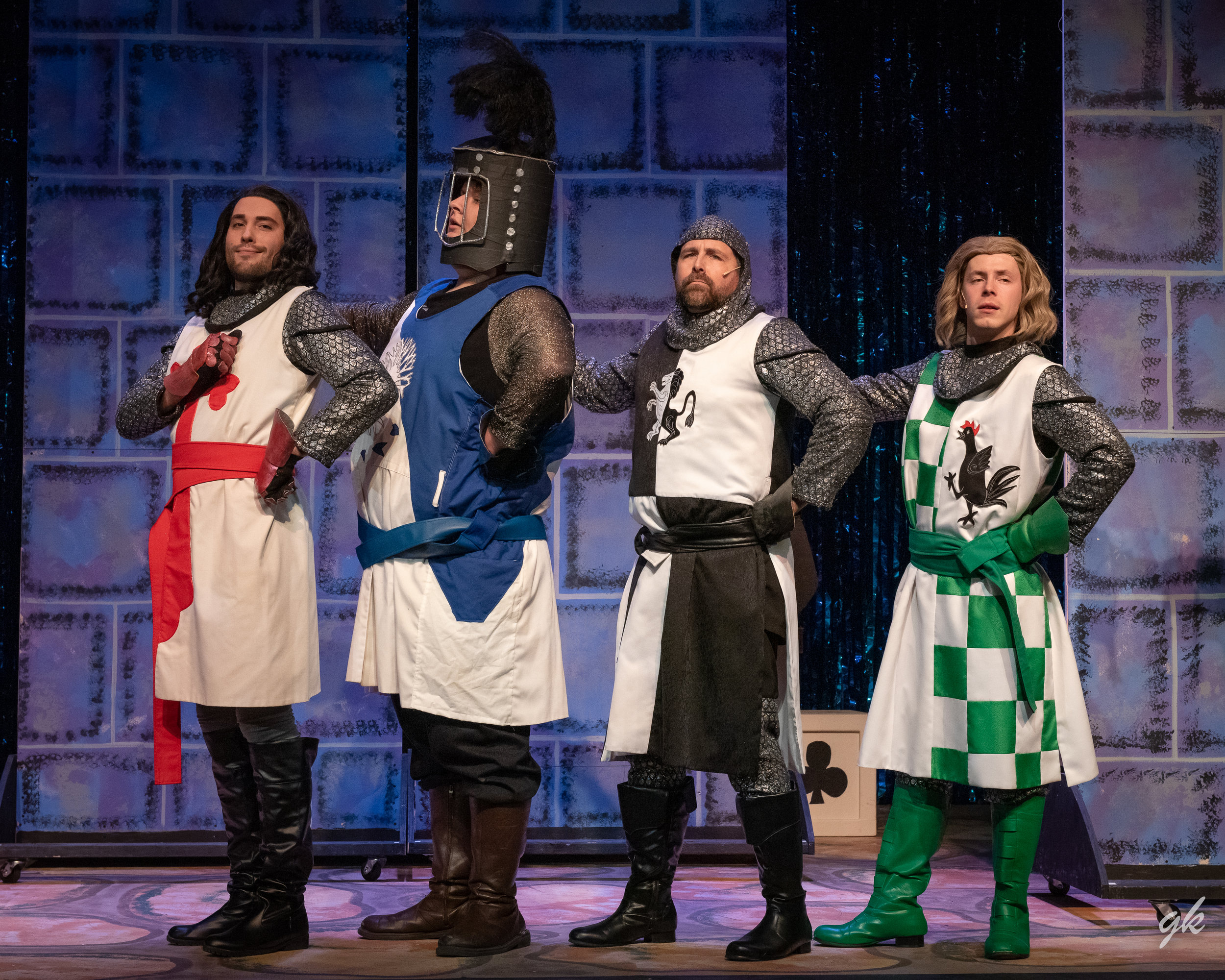 King Arthur's Knights of the Round Table — Sir Galahad (Eric Welch), Sir Bedevere (Noah Maguire), Sir Lancelot (Ted Shaw) and Sir Robin (Clayton R. Irwin) strike regal poses.