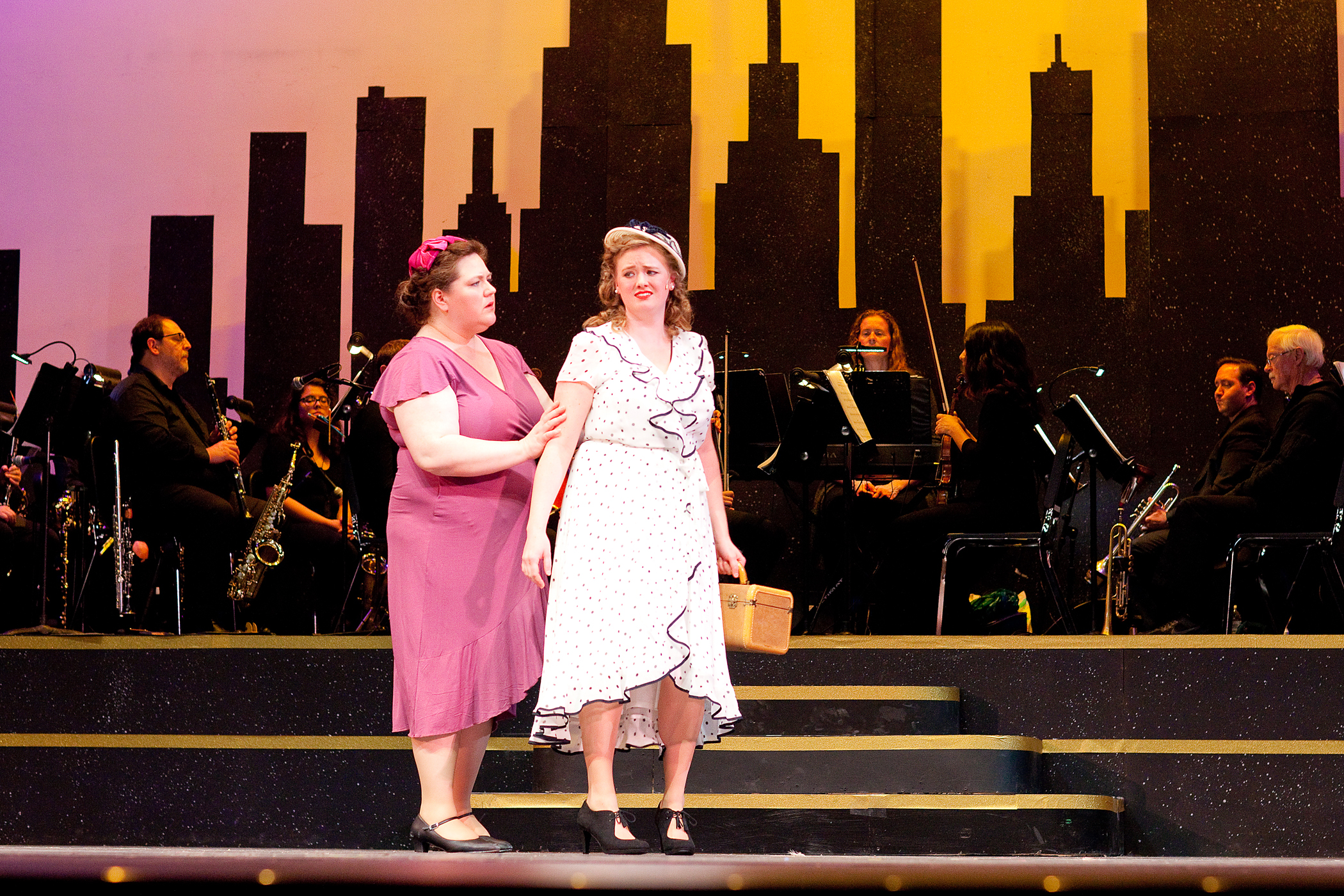 "Sisters Ruth and Eileen Sherwood (Wendy Rightler, left, and Dana Vetter) are two Ohio girls trying to make their mark in 1935 New York City in Falls Patio Players ""Wonderful Town.""  Photos by Lisa Majkrzak, Artan Sol Photography"