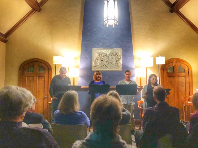 """Boulevard Theatre presents David Ferrie, Sandra Hollander, Matt Specht and Ericka Wade, from left, in a concert reading of Will Eno's """"The Realistic Joneses"""" at Plymouth Church. Photos by Jason Krukowski."""