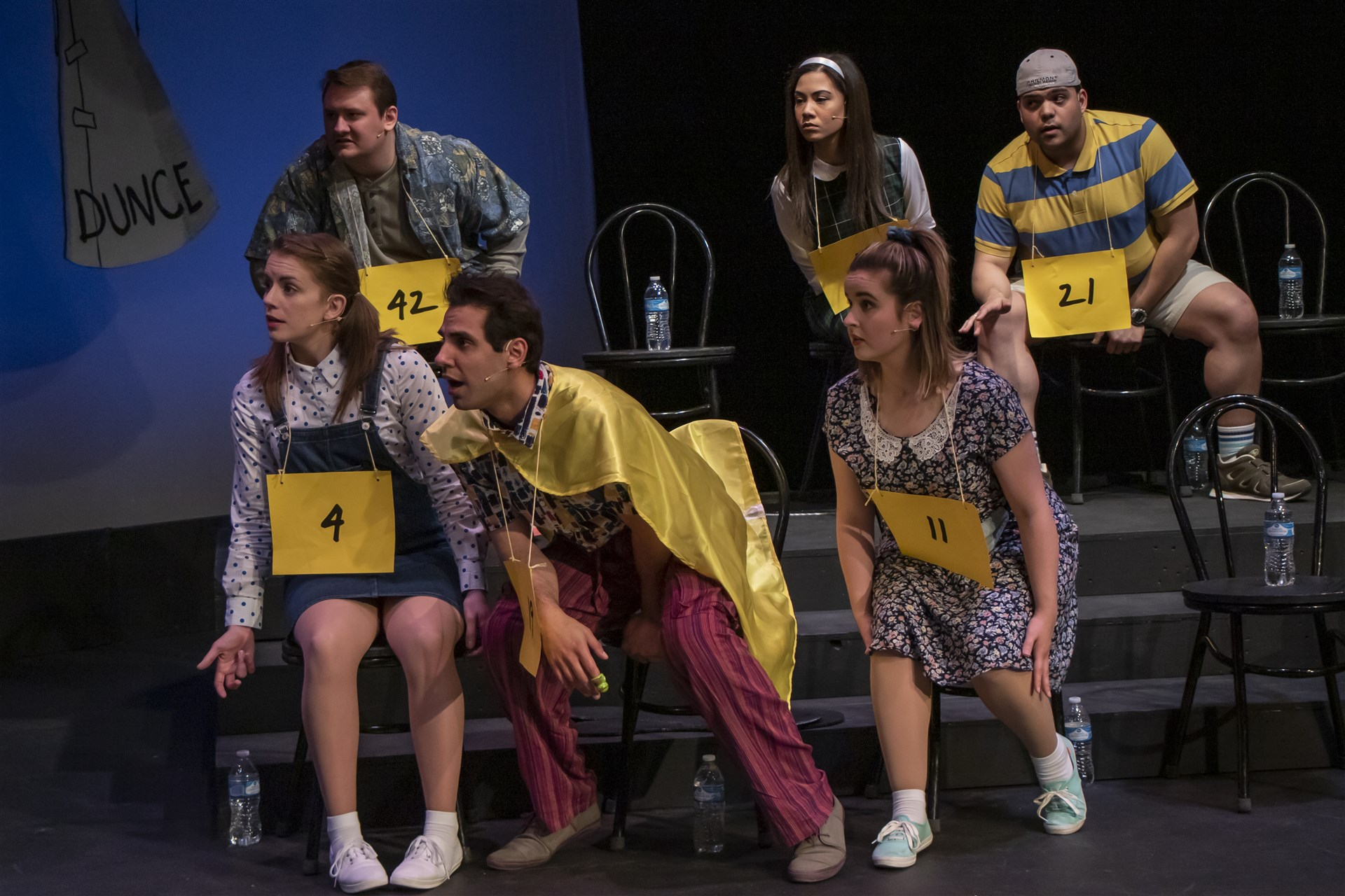 The spellers at the bee include, from left, front, Logainne (Stephanie Stascak), Leaf (Adam Qutaishat), Olive (Ava Bush), back, William (Gage Patterson), Marcy (Ashley Oviedo) and Chip (Romesh Alex Jaya).