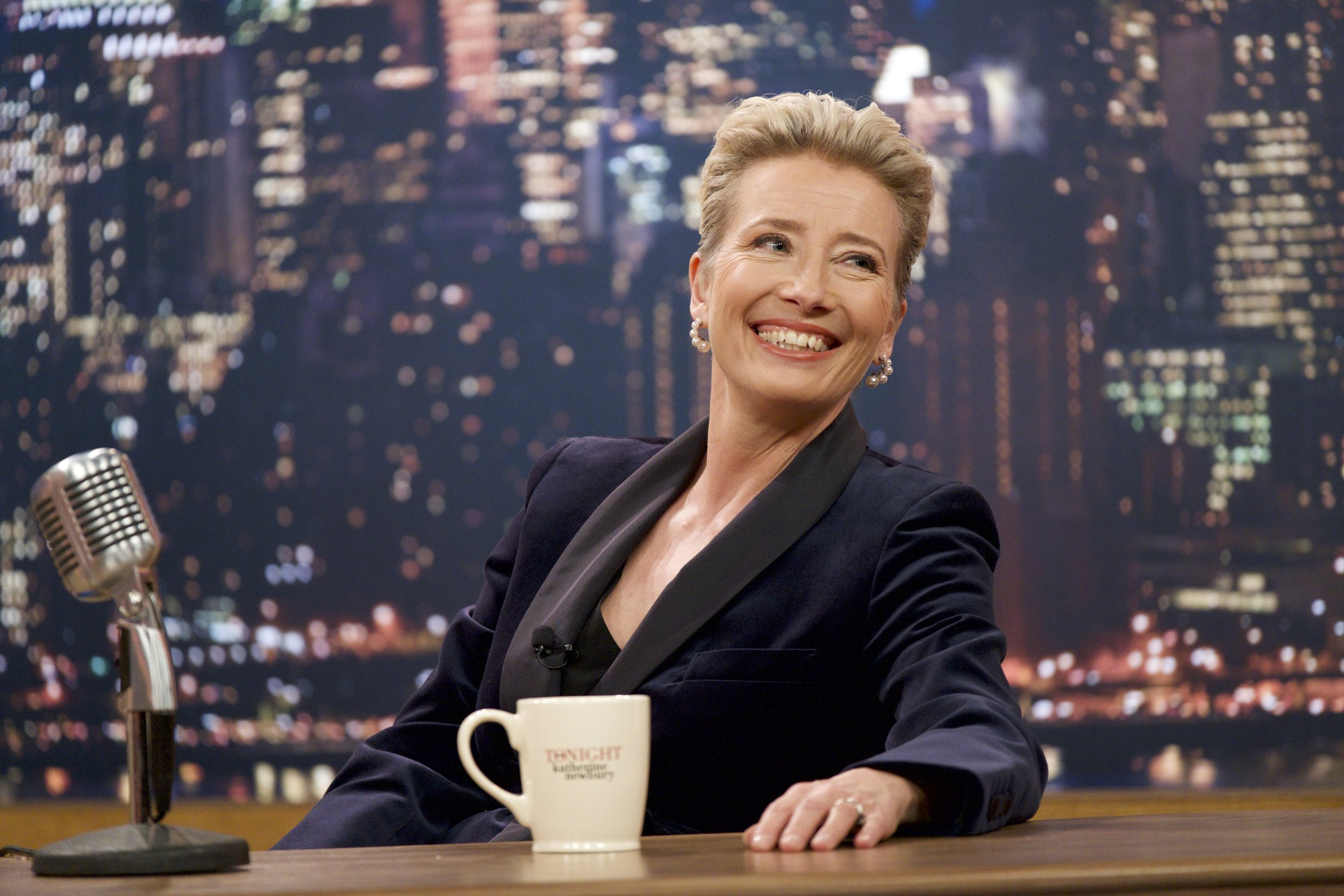 "Emma Thompson stars as TV hostess Katherine Newburgy in ""Late Night."""