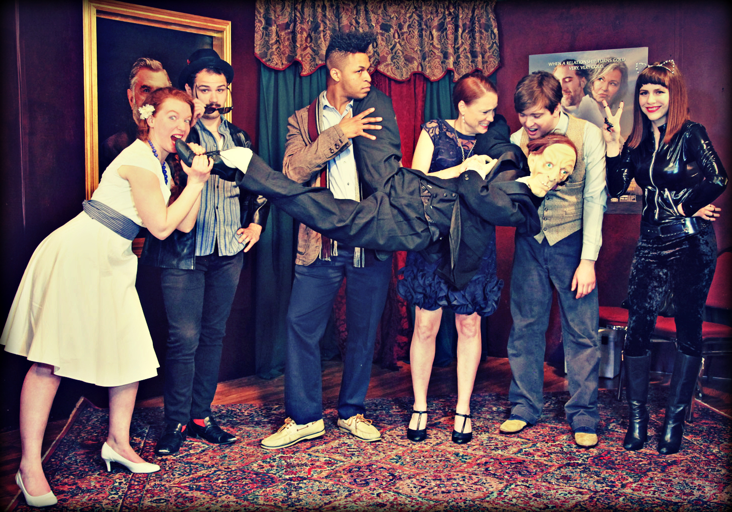 "The cast of ""Not Dead Yet"" has fun with Rip Butler in the Brumder Mansion. Pictured, from left, are Brittany Curran as Susie Ditz, Zach Sharrock as Adof Ebola, Dennis Lewis as Cameron James Pinehurst III, Amber Regan as Bernice Is-not-my-name, Chris Goode as E. Orr Block and Cara Johnston as Ginger Katz."