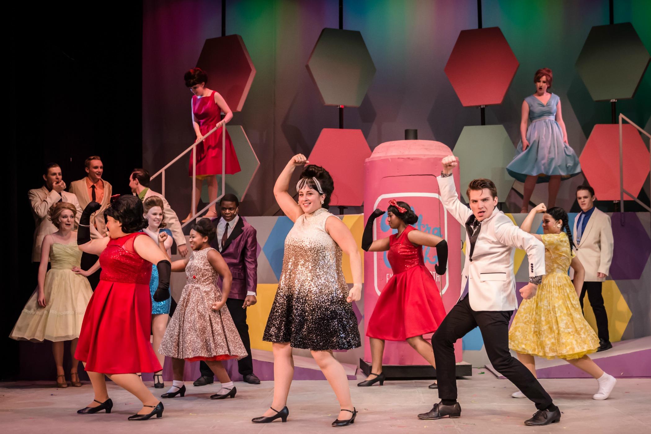 "Tracy (Emma Borkowski) and Link (Daniel Persino) pair up in Sunset Playhouse's ""Hairspray."""