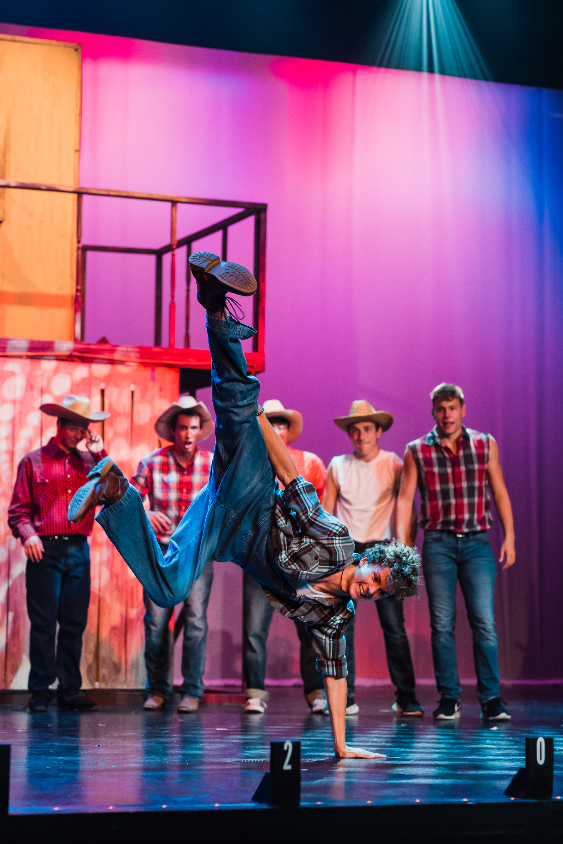 """Willard (Nolan Van Haren) busts a move after learning how to dance at a nightclub in a scene from Sudbrink Performance Academy's """"Footloose."""""""