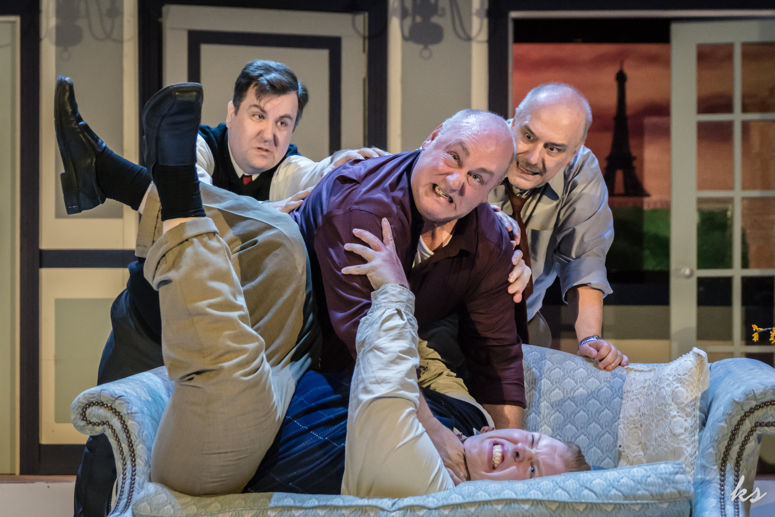 """Opera singer Tito Morelli (Bob Fuchs) tries to strangle his rival Carlo (Stefan Kent), who he thinks is having an affair with his wife, while Max (Corey Klein) and Saunders (Ralph Frattura) try to break up the fight in a scene from Sunset Playhouse's """"A Comedy of Tenors.""""  Photos by Katrina Smith"""