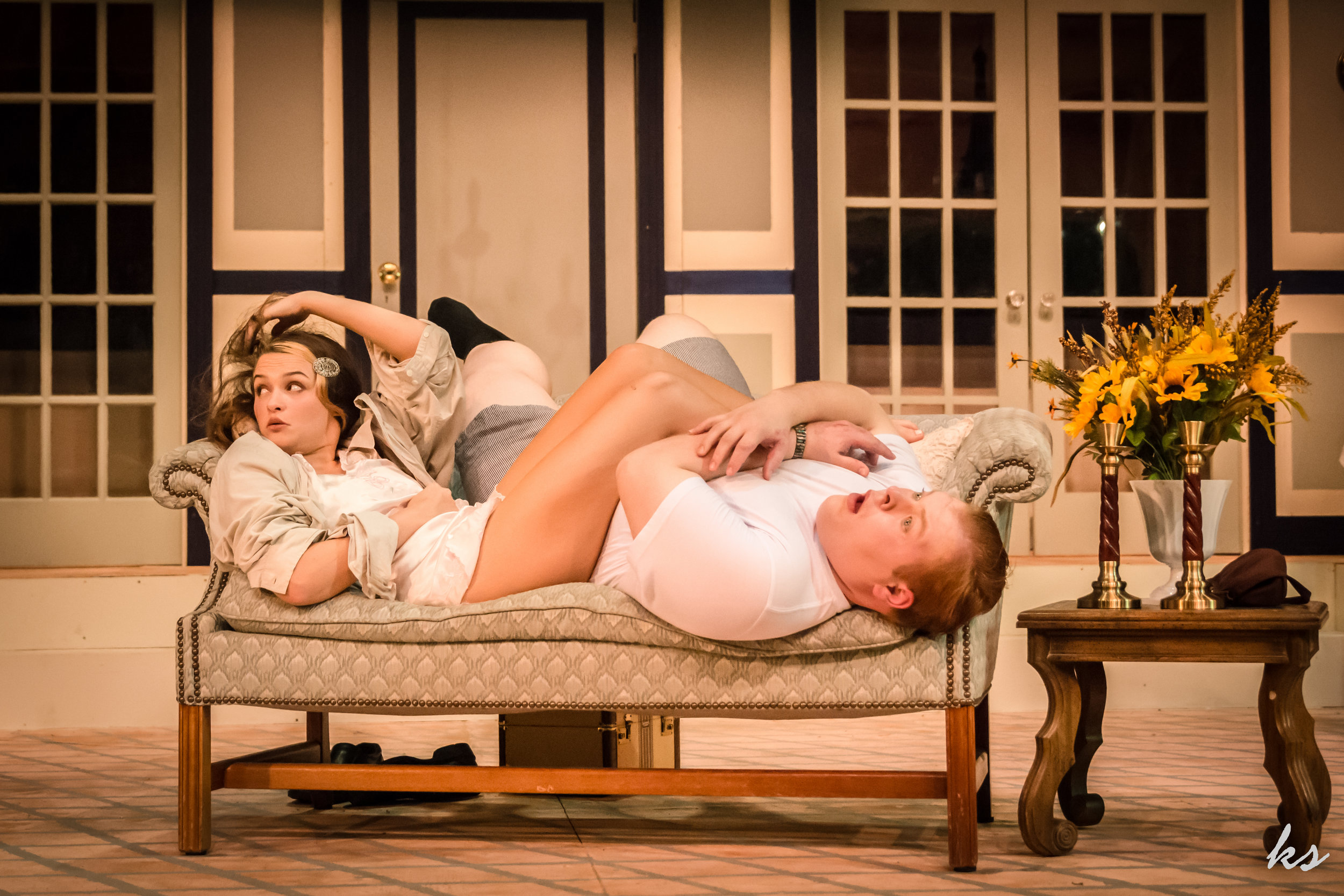 """Mimi (Alyssa Pankiewicz) and Carlo (Stefan Kent) try to hide their secret love affair from their parents in Sunset's """"A Comedy of Tenors."""""""
