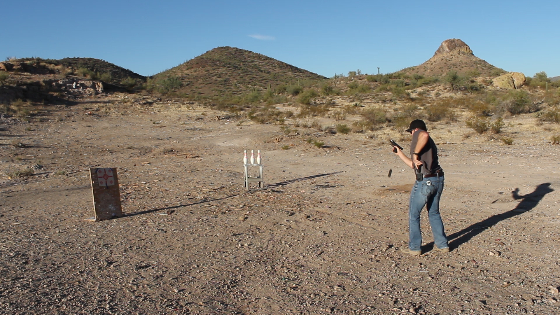 Working on reloads out in the desert...most public ranges don't let you practice this way, so find yourself a good, safe, and LEGAL shooting spot, and make it your home away from home!