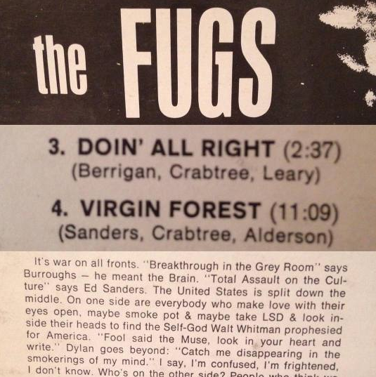 "from  The Fugs  album cover, with liner notes by Allen Ginsberg that reference a lineage of counterculture figures for the author of ""Howl"": Burroughs, Whitman, Dylan, and others."