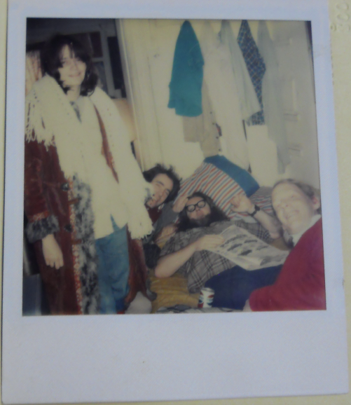 From left to right: Alice Notley, Harris Schiff, Ted Berrigan, and Steve Carey at 101 St. Mark's Place apartment. Courtesy of Stuart A. Rose Manuscript, Archives, and Rare Book Library, Emory University.