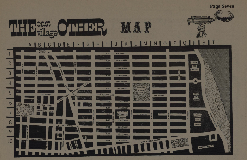"""The East Village Other Map"" from issue 2 of   The   East Village   Other   newspaper (Nov. 1965), a geographic litany of Lower East Side aesthetic hotspots for the New York School poets: Peace Eye Bookstore, Gem Spa, Five Spot, Cedar Bar, 8th St. Bookstore, & more"