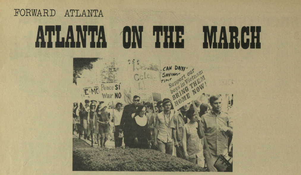 "From the alternative Atlanta newspaper   The Great Speckled Bird   ,  Vol. 1 No. 5 (May 10-23, 1968) about an April 27 anti-Vietnam ""Peace Parade."""